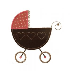 Baby Doll Pram applique design by Big Dreams Embroidery
