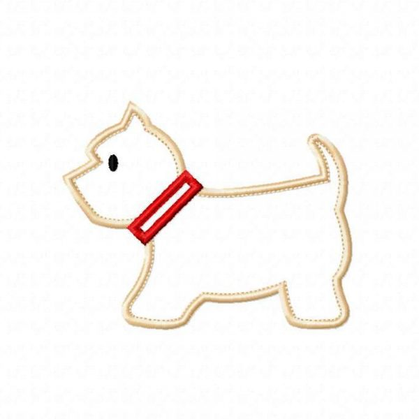 Westie Dog applique design pattern by Big Dreams Embroidery