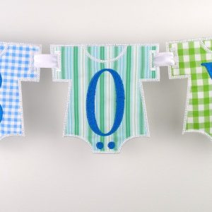 Baby Onesie Banner in the hoop project by Big Dreams Embroidery