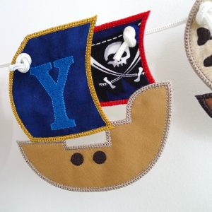 Pirate Ship Banner in the hoop project by Big Dreams Embroidery