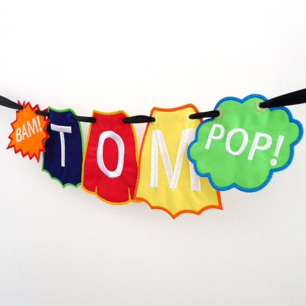 Superhero Banner in the hoop project by Big Dreams Embroidery
