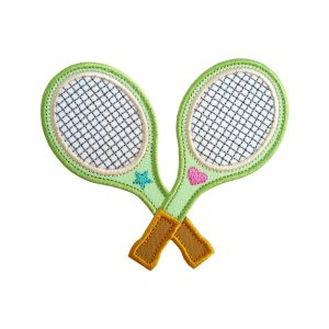 Tennis Racquets Crossed machine embroidery applique design pattern by Big Dreams Embroidery
