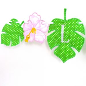 Monstera Tropical Leaf Bunting ITH Project by Big Dreams Embroidery
