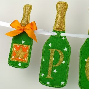 Champagne Bottle Banner ITH project by Big Dreams Embroidery