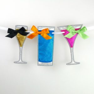 Party Glasses Bunting ITH Project by Big Dreams Embroidery