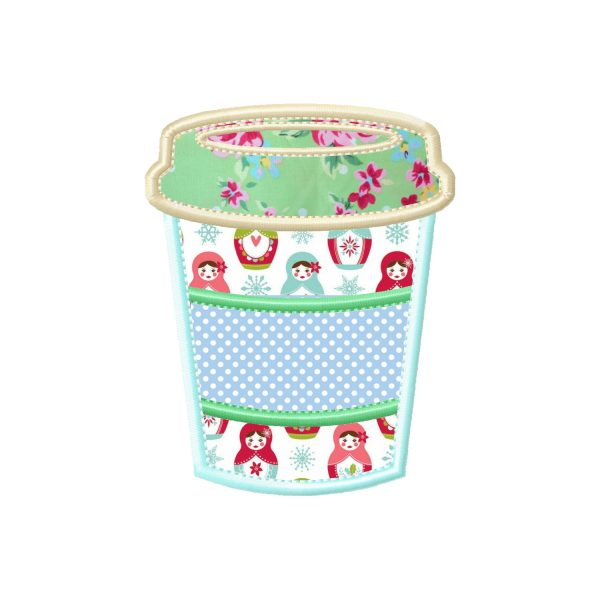 Coffee Cup applique design by Big Dreams Embroidery