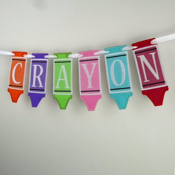 Crayon Banner ITH Project by Big Dreams Embroidery